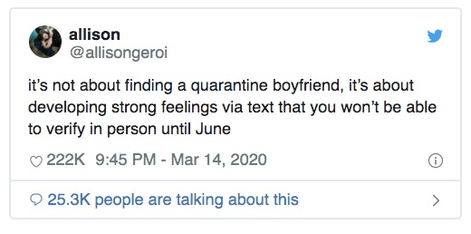 Tweets About Sex & Dating During Coronavirus are LOLable